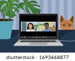 working from home during covid... | Shutterstock .eps vector #1693668877