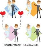 set of cartoon wedding pictures | Shutterstock .eps vector #169367831