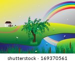rainbow. landscape  river and... | Shutterstock .eps vector #169370561