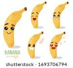 set of emoji banana with... | Shutterstock .eps vector #1693706794