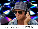 dj with hand on headphones... | Shutterstock . vector #16937794