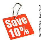 Sale tag on white background, no copyright infringement - stock photo