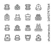 set of backpack related vector...