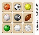 sport balls icon set. vector... | Shutterstock .eps vector #169381397