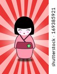 japanese doll isolated on red... | Shutterstock . vector #169385921