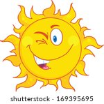 winked sun cartoon mascot... | Shutterstock .eps vector #169395695