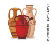 set of antique amphora with two ...   Shutterstock .eps vector #1694012914