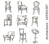 set of hand drawn chairs... | Shutterstock .eps vector #169401587