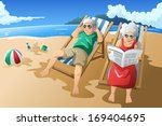 adult,age,beach,cartoon,clip-art,clipart,couple,drawing,elderly,enjoying,female,golden,illustration,leisure,lifestyle