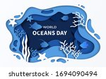 world oceans day paper cut sea... | Shutterstock .eps vector #1694090494