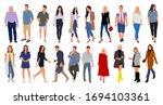 cartoon men and women walking... | Shutterstock .eps vector #1694103361