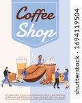 coffee shop poster flat vector...   Shutterstock .eps vector #1694119504