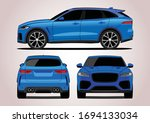 blue premium suv  the view from ... | Shutterstock .eps vector #1694133034