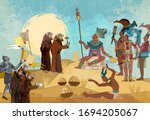 ancient mayan. mural painting.... | Shutterstock .eps vector #1694205067
