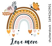 poster with cute rainbow and...   Shutterstock .eps vector #1694262901