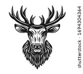 Deer Head Vector Monochrome...