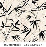 retro silhouette bamboo leaves... | Shutterstock .eps vector #1694334187