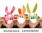 Three Multicolored Easter Eggs...