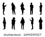 silhouette people stand set ... | Shutterstock .eps vector #1694359327