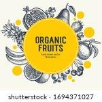 Fruits Round Frame  Retro Hand...
