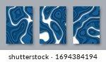 set of vector abstract 3d... | Shutterstock .eps vector #1694384194