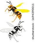 set insect wasps  black wasp ... | Shutterstock .eps vector #1694390011