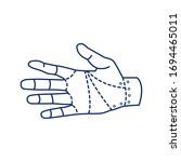 robotic hand black line icon....