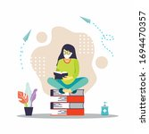 young woman reading book vector ... | Shutterstock .eps vector #1694470357