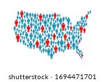 usa pandemic map of people... | Shutterstock .eps vector #1694471701