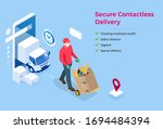 isometric delivery man or... | Shutterstock .eps vector #1694484394