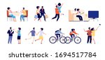 couple weekend. happy relaxed... | Shutterstock .eps vector #1694517784