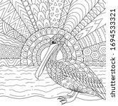 Line Art Design Of Pelican Bird ...