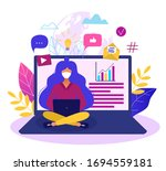 concept of online education or... | Shutterstock .eps vector #1694559181