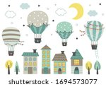 hot air balloon  fly over... | Shutterstock .eps vector #1694573077