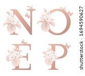 letters o p n e  flowers... | Shutterstock .eps vector #1694590627