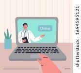 coronavirus pandemic.medicine... | Shutterstock .eps vector #1694595121