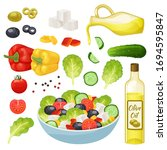 isometric greek salad vector...   Shutterstock .eps vector #1694595847
