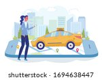 girl waiting for car and watch...   Shutterstock .eps vector #1694638447