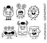 set of cartoon vector doodle... | Shutterstock .eps vector #1694699047
