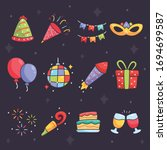 party icons set with champagne... | Shutterstock .eps vector #1694699587