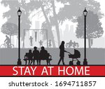 people silhouettes  urban... | Shutterstock .eps vector #1694711857