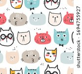 childish seamless pattern with... | Shutterstock .eps vector #1694755927