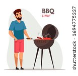 Young Man Frying Barbecue Flat...