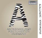 zebra stripe alphabet and... | Shutterstock .eps vector #169477979