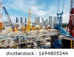 Big Construction Crane Working...