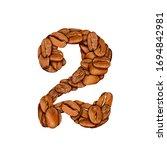 coffee bean font. alphabet...   Shutterstock . vector #1694842981