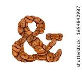 coffee bean font. alphabet...   Shutterstock . vector #1694842987