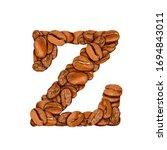 coffee bean font. alphabet...   Shutterstock . vector #1694843011