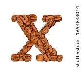 coffee bean font. alphabet...   Shutterstock . vector #1694843014