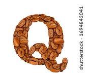 coffee bean font. alphabet...   Shutterstock . vector #1694843041